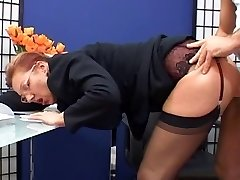 Classy mature assistant plumbed