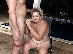 Pool man butt fucks a big grannie