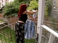Sexy Aged Wife Attacked During The Time That Hanging Laundry - Cireman