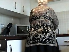 Fleshy grandma shows hairy pussy big ass and her boobs