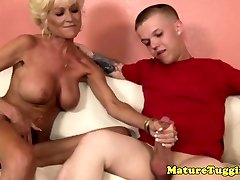 Tatted granny tugging midgets hard cock