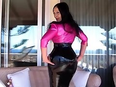 Killer Busty Latex Diva on the Terrace - Blowjob Handjob with long pink nails - Cum on my Knockers
