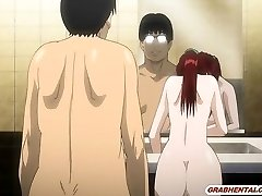 Bigboobs Japanese anime mom boning bigcock in the restroom