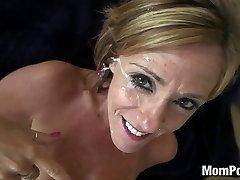 44 year older big tits cougar takes facial