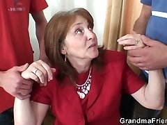 3 Way office fuckin' with granny