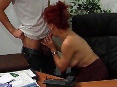 Hot European Mature Redhead Drills In Office