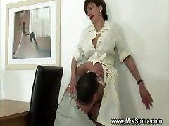 Munching horny mature pussy
