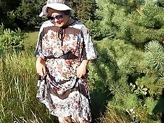 Hairy Mature in transparent sundress (part Four)