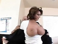 Busty Cougar Teacher in Stockings Bangs