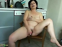 Grandmother mature masturbate with orange dildo