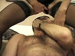 Squirting Granny Rides His Face & Shaft