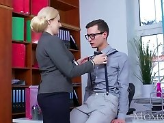 MOM Blonde big tits Milf gargles massive geek hard-on