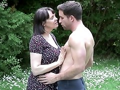 Large breasted British MOTHER fucking not her son