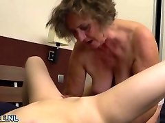 Titty dark-haired and a hairy grannie licking out each other