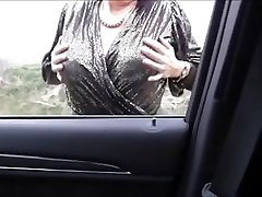Misterous Big Knockers Mature in the car