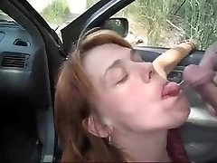 Car oral-service fun and sperm flow with a mature I'd like to pummel
