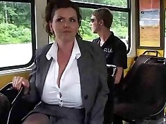 Mature faps her big fun bags on the bus.