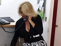 Mature secretary receives cum on her big scones