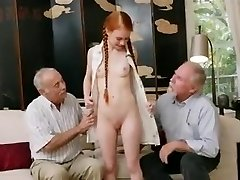 aged studs with young redhair babe