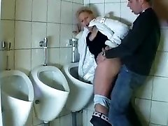 Guy pulverizes a mature in a public bathroom