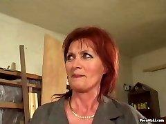 Redhead grannie enjoys anal