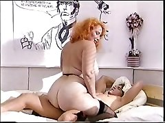 Big caboose redhead mature nails a young cock