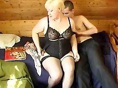 Russian boy pounding a plumper mature