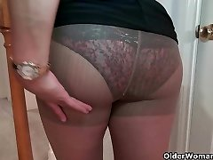 Chesty milf Mia Jones strips off and fucks a faux-cock