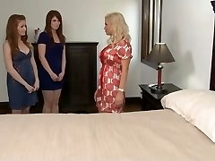 Mature girl and 2 young lesbians