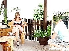 Big and mature gal Sandra face-sitting on her younger slave