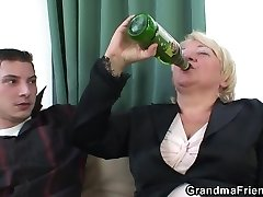 Boozed blond granma is double fucked