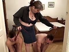 Bossy grandma and her two youthfull home slaves