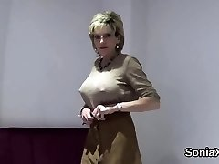 Adulterous english mature lady sonia displays her good-sized tits