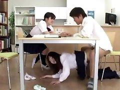 XXX... boink girl japanese library under the table