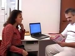 Perverted doctor studies a pregnant woman internally.
