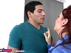 Moms Bang Teenagers - Mom teaches ginger stepdaughter