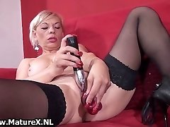 Muddy old slut gets all horny playing