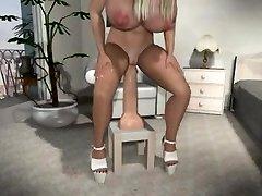 Extraordinary busty Cartoon mom riding her dildo