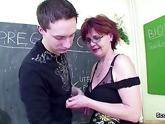 Female Sex Educator Seduce Young Boy to Fuck her MILF Poon