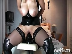 Mature cougar fucking gigantic faux-cocks