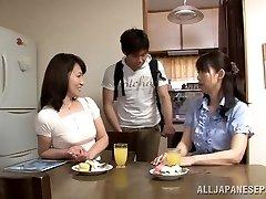 Lustful Japanese older babe Yuuri Saejima bounces on dong