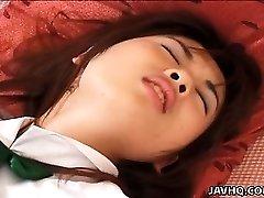 Japanese teen  Momoka in college uniform gets finger-tickled Uncensored