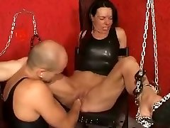 Fist poking a creamy mature pussy