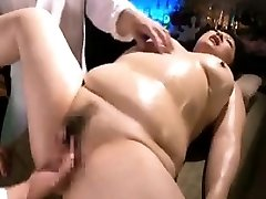 Chunky lady is made to enjoy intense orgasms with thumbs a