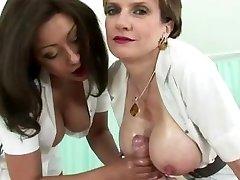 Chesty mature nurse gets a cumshot