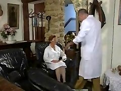 Mature French Nurse fucked by two Studs