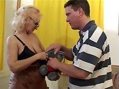 Grannie in Glasses and Stockings Sucks and Fucks