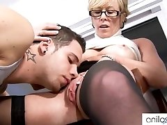 Horny granny tempts college girl
