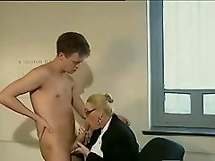 Big dick guy drills a mature assistant