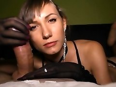 Sensual handjob with nylon gloves!